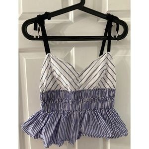 NWOT Express Triangle Striped Crop Top